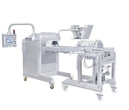 Strand forming machine for 2 masses