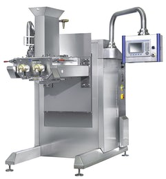 Strand forming machine for creamy mixtures