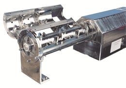 Continuous extruder for mixing solids and liquids