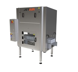 Mass flow air knife drying system for cans