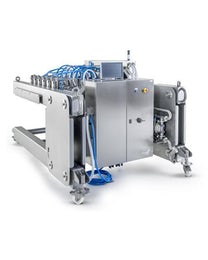 Mobile high speed depositor of pizza sauce