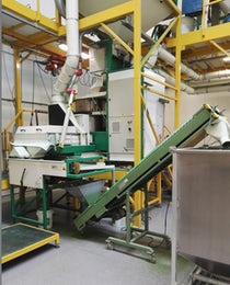 Seed coating machine with integrated dryer